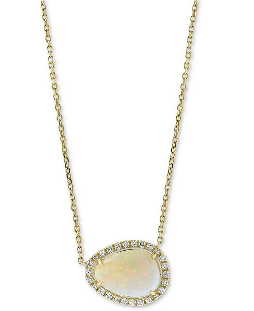 "EFFY Collection EFFY® Opal (1-3/4 ct. t.w.) & Diamond (1/6 ct. t.w.) 18"" Pendant Necklace in 14k Gold"