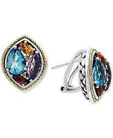 EFFY® Multi-Gemstone Stud Earrings (4-5/8 ct. t.w.) in Sterling Silver & 18k Gold