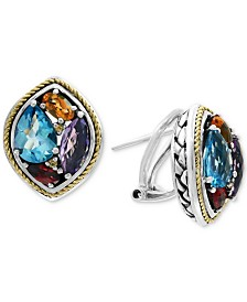 EFFY® Multi-Gemstone Stud Earrings (4-5/8 ct. t.w.) in Sterling Silver & 18k Gold