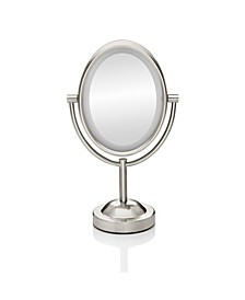 Double-Sided Lighted Oval Mirror