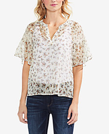 Vince Camuto Floral-Print Mesh Top