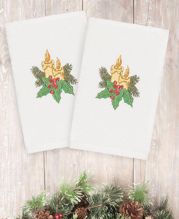 Linum Home CLOSEOUT!  Christmas Candles 100% Turkish Cotton 2-Pc. Hand Towel Set