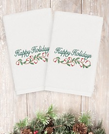 CLOSEOUT!  Christmas Happy Holidays 100% Turkish Cotton 2-Pc. Hand Towel Set