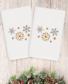 CLOSEOUT! Linum Home Christmas Snowfall 100% Turkish Cotton 2-Pc. Hand Towel Set