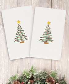CLOSEOUT! Linum Home Christmas Tree 100% Turkish Cotton 2-Pc. Hand Towel Set