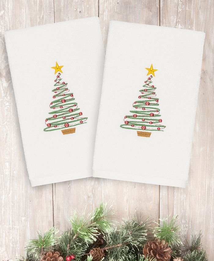 Linum Home - Christmas Tree 100% Turkish Cotton 2-Pc. Hand Towel Set