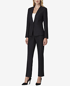 Tahari ASL Zip-Trim One-Button Pantsuit