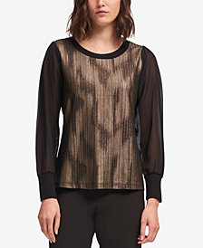 DKNY Metallic-Print Chiffon-Sleeve Top, Created for Macy's