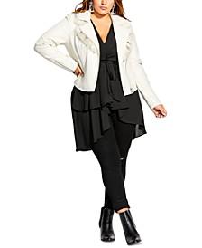 Trendy Plus Size Faux-Fur-Collar Jacket