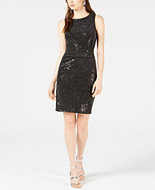 Bar III Ruched Metallic Shine Bodycon Dress, Created for Macy's