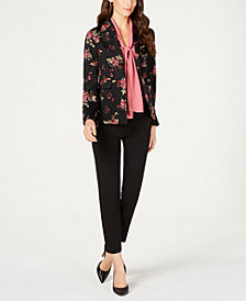 Nine West Printed Blazer, Tie-Neck Blouse & Slim-Leg Pants