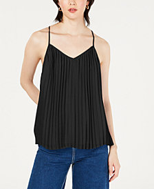 Bar III Pleated Racerback Strappy Tank Top, Created for Macy's