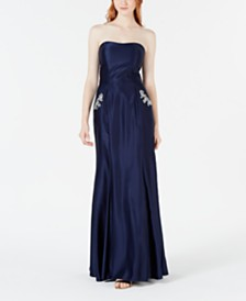 Blondie Nites Juniors' Strapless Pocket-Detail Gown