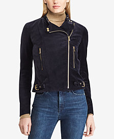 Lauren Ralph Lauren Stretch-Velvet Moto Jacket