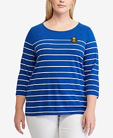 Lauren Ralph Lauren Plus Size Crest Striped Top