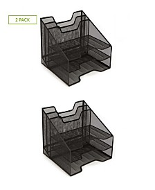 Mind Reader Mesh Desk Organizer With 5 Trays, 2 Pack, Black
