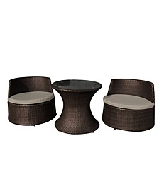 Oasis 3 Piece Outdoor Wicker Chat Set, 2 Chairs, Table, Overmax