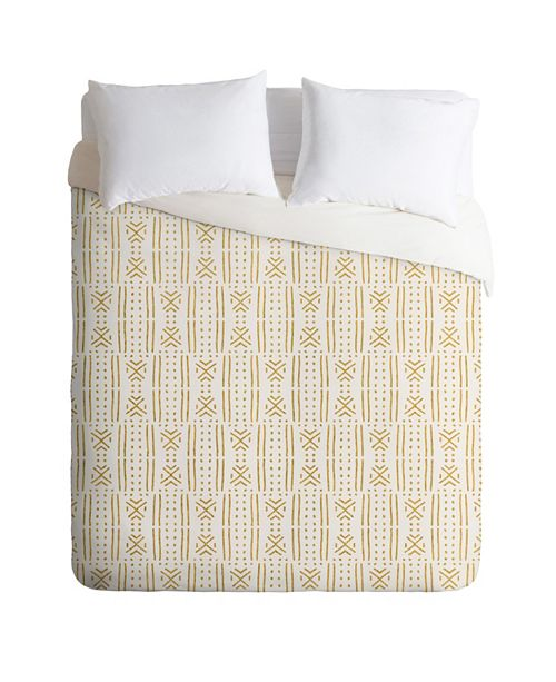 Deny Designs Holli Zollinger Mudcloth Gold Queen Duvet Set