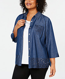 Alfred Dunner Plus Size Turtle Cove Layered-Look Embellished Eyelet Top