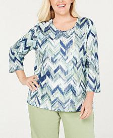 Alfred Dunner Plus Size Greenwich Hills Embellished Lace Top