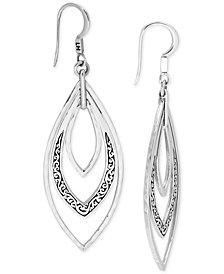 Lois Hill Filigree Triple Marquise Drop Earrings in Sterling Silver