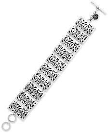 Lois Hill Rectangular Scroll Link Bracelet in Sterling Silver