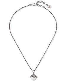 "Majorica Sterling Silver Cubic Zirconia & Imitation Pearl Pendant Necklace, 14-1/2"" + 2"" extender"