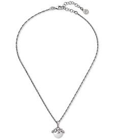 "Majorica Sterling Silver Cubic Zirconia & Imitation Pearl Pendant Necklace, 14-1/2"" + 2"" extender"
