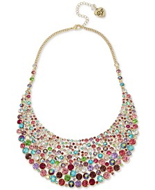 "Betsey Johnson Gold-Tone Multicolor Crystal Statement Necklace, 16"" + 3"" extender"