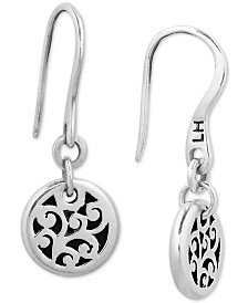 Lois Hill Decorative Scroll Disc Drop Earrings in Sterling Silver