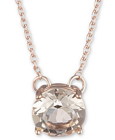 "Marchesa Rose Gold-Tone Cubic Zirconia Solitaire Pendant Necklace, 16"" + 3"" extender"