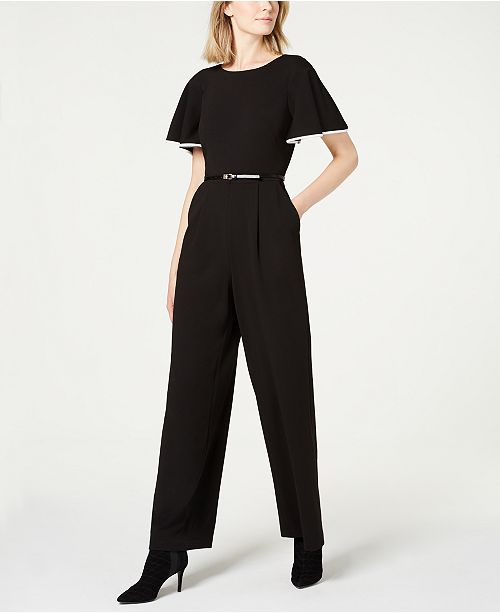 46a32e4540c Calvin Klein Ruffle-Sleeve Jumpsuit   Reviews - Dresses - Women - Macy s