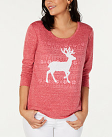 Style & Co Embellished Reindeer Sweater, Created for Macy's