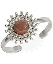 Lucky Brand Silver-Tone Stone Cuff Bracelet