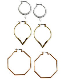 Lucky Brand Two-Tone 3-Pc. Set Pavé Hoop Earrings