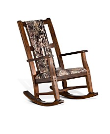 Santa Fe Dark Chocolate Rocker, Mossy Oak Fabric Seat