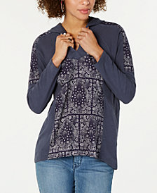 Style & Co Petite Printed Hoodie Top, Created for Macy's