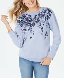 Karen Scott Floral-Print Sweatshirt, Created for Macy's