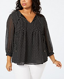Plus Size Printed Pintucked Top