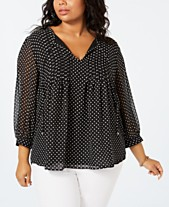 a3b3801c2 Tommy Hilfiger Plus Size Printed Pintucked Top