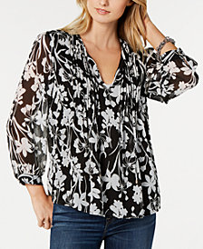 Tommy Hilfiger Printed Pintuck-Pleat Top, Created for Macy's