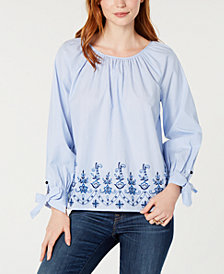 Tommy Hilfiger Embroidered Peasant Top, Created for Macy's