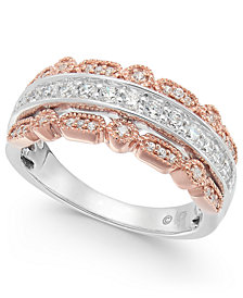 Diamond Two-Tone Bead Edge Band (1/2 ct. t.w.) in 14k White Gold & Rose Gold