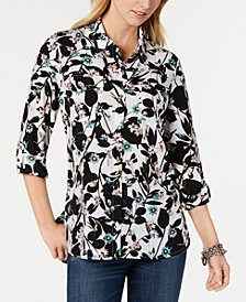 Tommy Hilfiger Floral-Print Roll-Tab-Sleeve Shirt, Created for Macy's