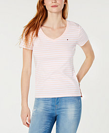 Tommy Hilfiger V-neck Striped T-Shirt, Created for Macy's