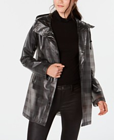 French Connection Sheer Hooded Plaid Slicker Raincoat