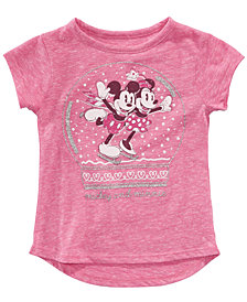 Disney Little Girls Mickey & Minnie Mouse Snow Globe T-Shirt
