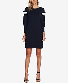 CeCe Puffed-Sleeve Sweater Dress