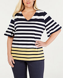Charter Club Plus Size Striped Bell-Sleeve Top, Created for Macy's