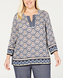 Charter Club Plus Size Printed Tunic Top, Created for Macy's
